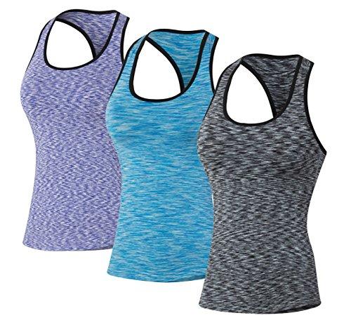 Sport Yoga Tanktops Damen Workout 3 Packs Dry Fit Kompression Running Fitness T-Shirt Lila Blau Grau Tag(S)=EUR XS