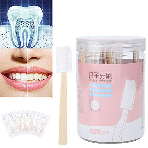 30 Unids Mini Cepillo de dientes desechable No se necesita pasta de dientes Cuidado oral suave y portátil para niños, Envejecido, Maternidad, Viaje(Limón)