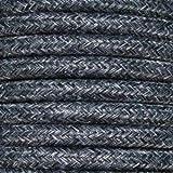 Cable eléctrico Vintage redondo trenzado textil. Bobina de 5 metros de 2 núcleos x 0,75 mm de sección. (Uniform Grey)