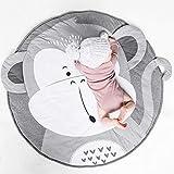 Round Cotton Rug Baby Nursery Rug Kids Play Mat Infant Crawling Mat Floor Playmats Washable Game Blanket Tummy Time Carpet (Monkey Pattern 90cm)