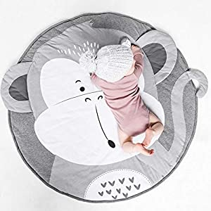 Round Cotton Rug Baby Nursery Rug Kids Play Mat Infant Crawling Mat Floor Playmats Washable Game Blanket Tummy Time Carpet (Monkey Pattern 90cm)