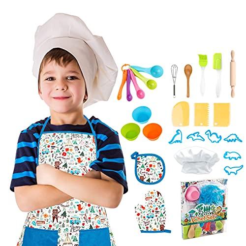 Juego de Hornear para niños - 26 PCS niños Chef Juego de rol Incluye Delantal para niños pequeños, Chef Dress Up rol de Cocina Juguetes para niños pequeños Chicas de 3 a 8 años