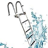 WGE Escalera para Barco Acero Inoxidable 4 Pasos Escalera de Piscina, Escalera de Barco Pontón con Escalera de Barandilla de Pedal, Telescópico Plegable Escalera de Muelle