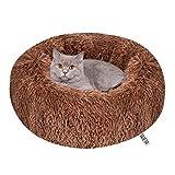 Queta Katzenbett Schöne Tierbett, Klein Hund Bett Haustierbett Plüsch Weich Runden Katze Schlafen Bett (50cm Durchmesser Braun)