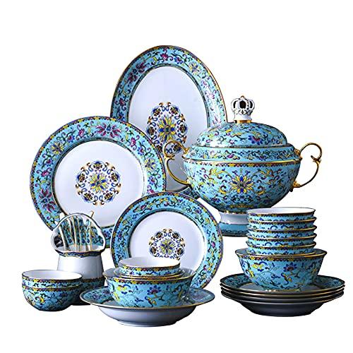 ZCZZ Juego de vajilla de Porcelana de 86 Piezas, Juego de vajilla de cerámica Jingdezhen, Platos y tazones, Juego de ollas y sartenes, Horno microondas Apto para lavavajillas
