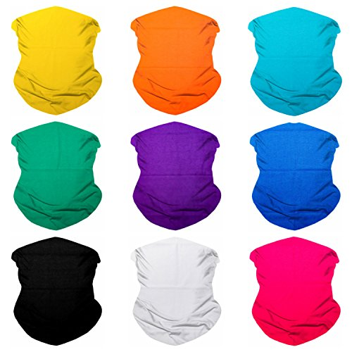 SoJourner 9PCS Seamless Bandanas Face Mask Headband Scarf Headwrap Neckwarmer & More – 12-in-1 Multifunctional for Music Festivals, Raves, Riding, Outdoors (Solid 2)