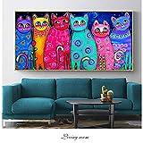 ganlanshu Cartel de la habitación de los niños con lienzos de Gatos Coloridos y decoración del hogar Pop Art,Pintura sin Marco,30x60cm
