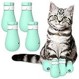 iFCOW Zapatos de gato, 4 botas de silicona ajustables antiarañazos, para gatos
