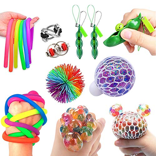 RichMoho Fidget Sensory Toys for Autism, ADHD - Including 1 Stress Relief Balls, 1 Monkey Stringy Balls 2 Soybean, 2 Flipped Chain and 4 Large Size Stretch Strings - 10 Pack