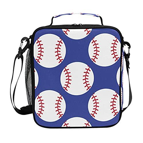 HaJie - Bolsa de almuerzo con diseño de pelotas de béisbol con soporte para botellas para mujeres, niños, niñas, hombres, trabajo, bolsa térmica para almuerzo