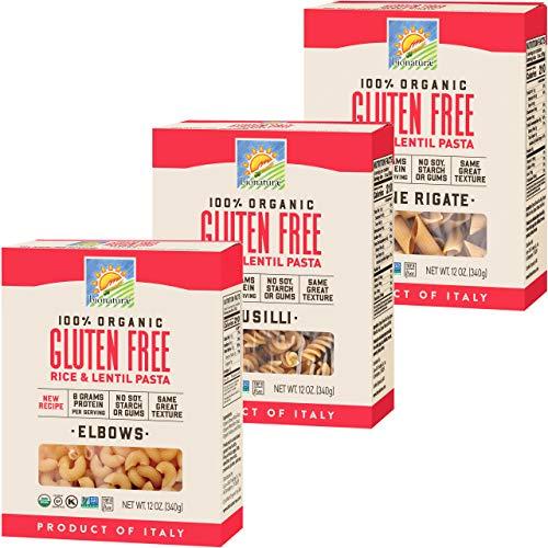 Bionaturae Elbows Gluten-Free Pasta | Fusilli Gluten-Free Pasta | Penne Rigate Gluten-Free Pasta | Rice & Lentil Pasta | Non-GMO | Lower Carb | USDA Certified Organic | Made in Italy | 12 oz Each