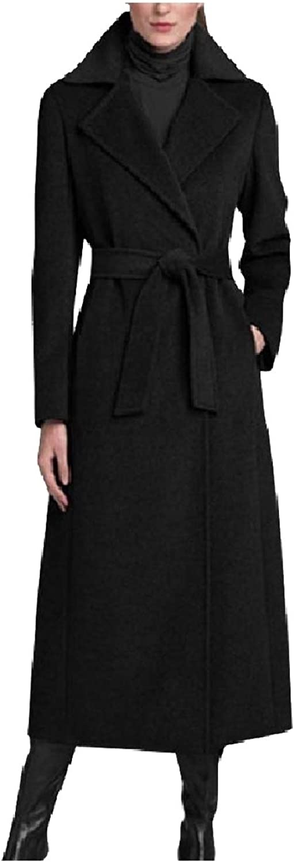 Zimase Women Overcoat Jackets WoolBlend FoldCollar Lapel Maxi Pea Coat