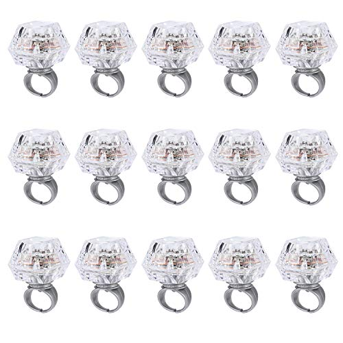 MUCH Led Light up Ring Toys Plastic Flashing Diamond Grow in The Dark 15 Pack for Bachelorette Bridal Shower Gatsby Party