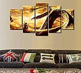 7 lienzos abstractos de dragones – 5 lienzos con fantasía de dragón abstracto para su hogar u oficina