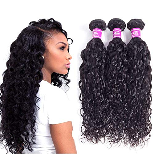 "12""14""16"" Wet And Wavy Human Virgin Hair 3 Bundles 100g/bundle 8A Grade 100% Unprocessed Water Wave Human Hair Bundles Can Be Bleached And Dyed Natural Black Ushine Hair"