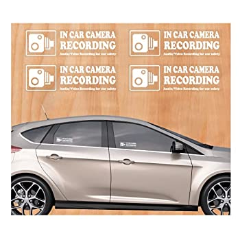 Camera Audio Video Recording Window Cars Stickers – 4 Signs Removable Reusable Indoor Dashcam in Use Vehicles Warning Decals Labels Bumpers Static Cling Accessories for Rideshare Taxi Drivers  White