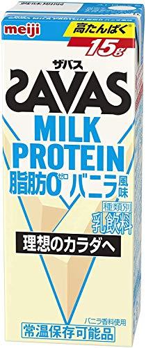明治 ザバス ミルクプロテイン 脂肪 0 バニラ風味 200ml×24本/4ケース