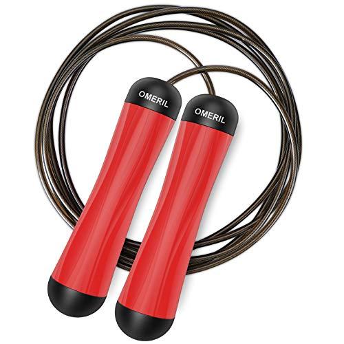 Springseil, OMERIL Speed Rope Springseil, Skipping Rope Jump Rope, Länge Einstellbar, Rutschfest Ideal für Fitness, Crossfit, HIIT, Training, geeignet für Kinder und Erwachsene.