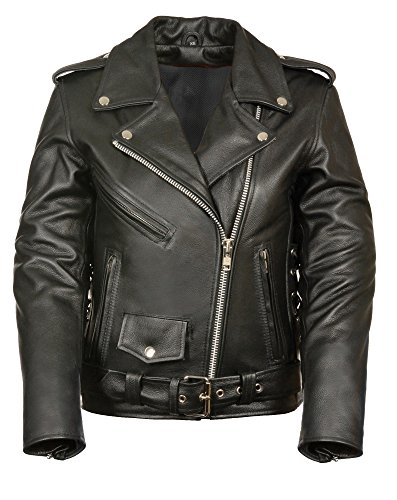 M-BOSS MOTORCYCLE APPAREL-BOS22506-BLACK-Women's classic biker leather jacket wth zipout liner-BLACK-2X-LARGE