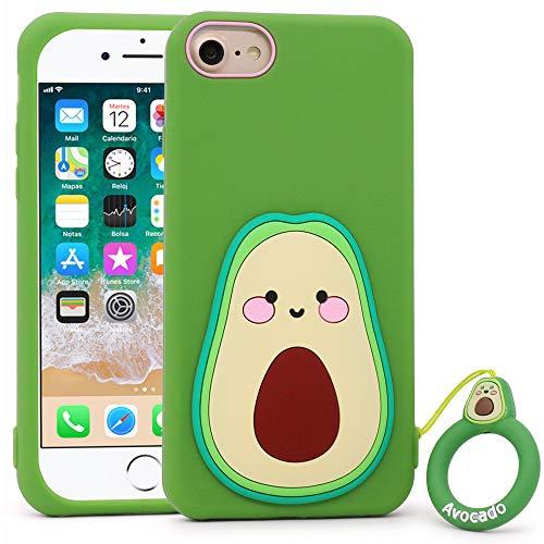LKKJ Bonita funda para iPhone SE 2020, iPhone 6, iPhone 6s, iPhone 7, iPhone 8, divertido fruta, aguacate, silicona suave moldeada en 3D, dibujos animados en 3D, resistente a los golpes.
