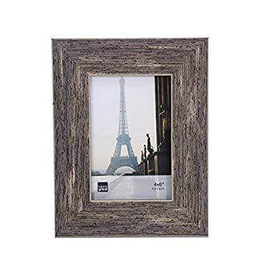Kiera Grace Emery Picture Frame, 4 by 6 Inch, Plastic Resin, Weathered Grey Reclaimed Wood Veneer