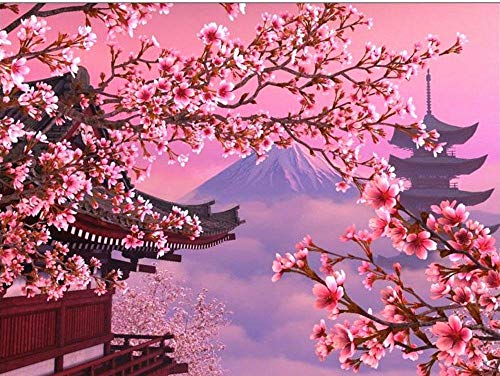 Japanese Cherry Blossom Flower Full Diamond Painting kit Art Landscape Diamond Painting