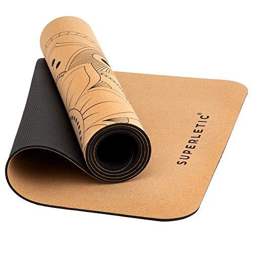 SUPERLETIC Yoga-Matte Kork Limited Edition, extrem rutschfest, antibakteriell, schadstofffrei, 100% recyclebar, 183 x 61 cm, 5 mm stark, mit Tragetasche, Mandala-Druck