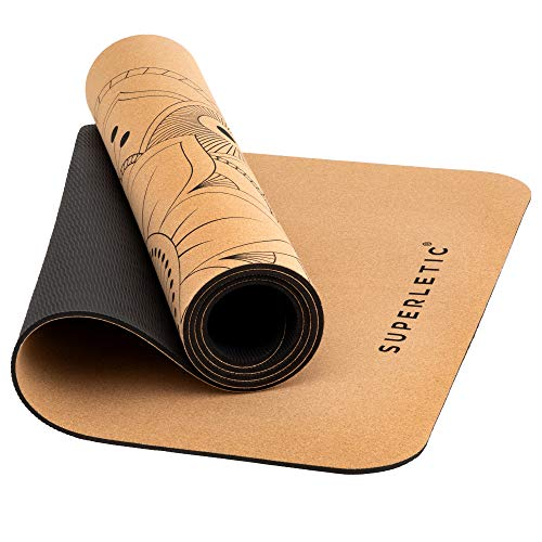 SUPERLETIC Kork Yogamatte rutschfest Schadstofffrei - Limited Edition - Yoga Matte Kork I Nachhaltig & 100% Recyclebar I Kork Yoga Matte + Tragetasche für Yogis I 183 x 61 cm, 5 mm stark.