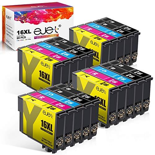 ejet 16XL Kompatibel Patronen Ersatz für Epson 16XL Tintenkartuschen für WF2630 WF2510 WF2760 WF2530 WF2520 WF2540 WF2750 WF2660 WF2650 WF2010 (8 Schwarz /4 Cyan /4 Magenta /4 Gelb 20 Pack)