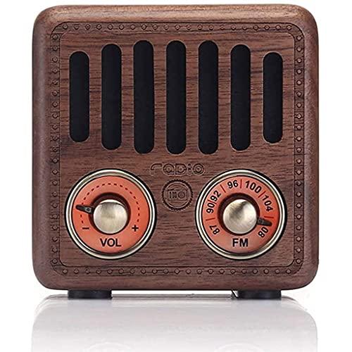 LVLUOKJ Vintage Radio Portátil Bluetooth Altavoz, Pequeña Radio FM Retro Radios Transistor con Mejora de Graves Volumen Alto, Tarjeta TF, AUX, Recargable