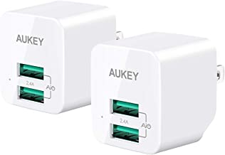 AUKEY USB Wall Charger, Ultra-Compact Dual Port with Foldable Plug, Mini Charger Adapter Compatible with iPhone 11 Pro / 11 Pro Max / 11 / XS, Galaxy S8 / S8+, iPad Pro/Air 2, and More (2 Pack)
