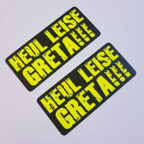 folien-zentrum 2X Heul Leise Greta Neon Gelb Schwarz Aufkleber Shocker Hand Auto JDM Tuning OEM Dub Decal Stickerbomb Bombing Sticker Illest Dapper Fun Oldschool