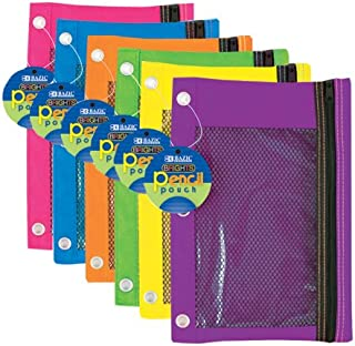 BAZIC Bright Color 3-Ring Pencil Pouch w/ Mesh Window, Case of 144 (804-144),MULTIPLE