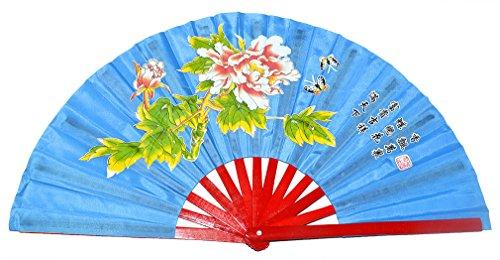 Medifier Chinese Kung Fu Tai Chi Fan Arts Dance/Practice Performance Bamboo Folding Fan Peony Flower Pattern (Blue)