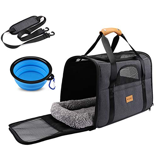 Cat Carrier Dog Carrier, Pet Travel Carrier Airline Approved for Small Dogs Puppies Cats of 15lbs, Portable Pet Transport Bag with Adjustable Shoulder Strap + Removable Soft Cushion + Foldable Bowl