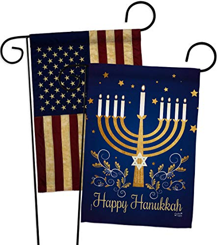 Angeleno Heritage Happy Hanukkah Garden Flag Pack Winter Candle Bonsai Menorah Jewish Chanukah David USA Vintage Applique House Decoration Banner Small Yard Gift Double-Sided, 13'x 18.5', Thick Fabric