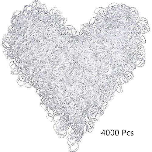PINKE 4000 Pièces De Bande De Cheveux Bande De Cheveux Élastique Mini Bande De Cheveux Élastique(White)