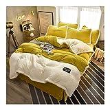 xilinshop Juego de Cama Queen Size 4 Hoja Piece Set Polar de Coral lecho Suave y cómodo con Textura de Rayas Sábanas Ajustadas (Color : Yellow, Size : 2.0m (6.6 Feet Bed))