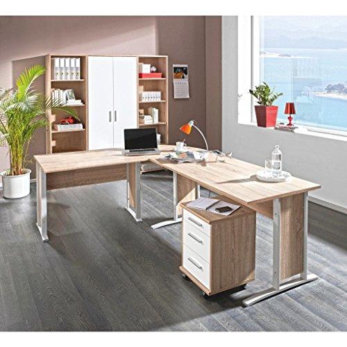 komplettes Arbeitszimmer mit Winkelschreibtisch Eckschreibtisch Schreibtisch Home Office Komplettset in Eiche Sonoma/Weiß