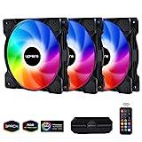 upHere 120mm - RGB LED Ventilador de PC - Ventilador para Ordenador con Control Remoto, Paquete de 3(SR12-06-3)