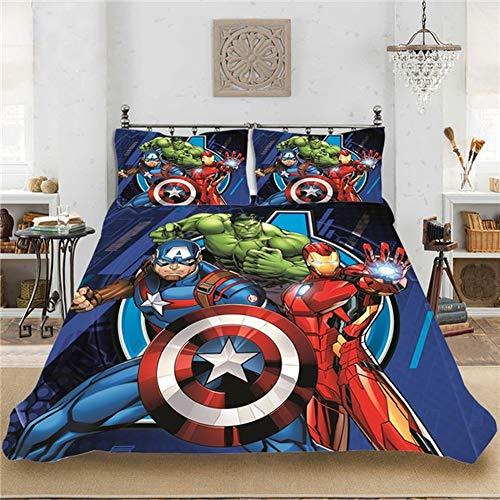 DCWE Marvel - Juego de cama de 3 piezas con funda de edredón y 2 fundas de almohada (100% microfibra), diseño de impresión digital