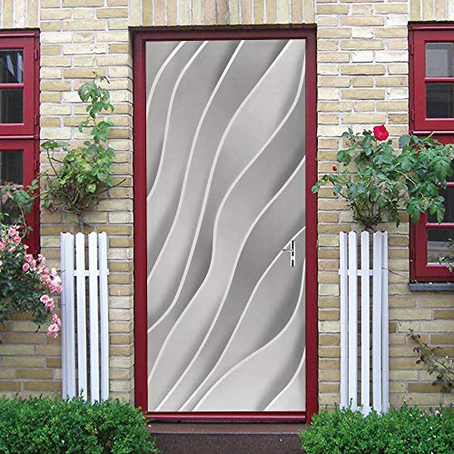 3D Door Mural Nature Art Sticker, Home Creative DIY, Líneas Blancas DIY Adhesivo Decorativo de Puerta Autoadhesivo Bricolaje Pegatinas Pared Decoración de Hogar Arte Moderno 77 x 200 cm