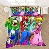EA-SDN Super Mario - Juego de funda nórdica y funda de almohada (100% microfibra, juego de cama de 2/3 piezas), diseño de Super Mario