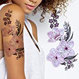2 x Sheets of Cherry Blossom flora temporary tattoos for adult women kids girls flower big and small pink white cute flora sticker arm legs adult temp tatoo on transfer paper