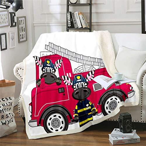 Loussiesd Manta para niños, diseño de cebra, bombero, manta difusa para cuna, sofá, dibujos animados, forro polar, manta sherpa, coche impreso, aire acondicionado cepillado, 30 x 40 pulgadas
