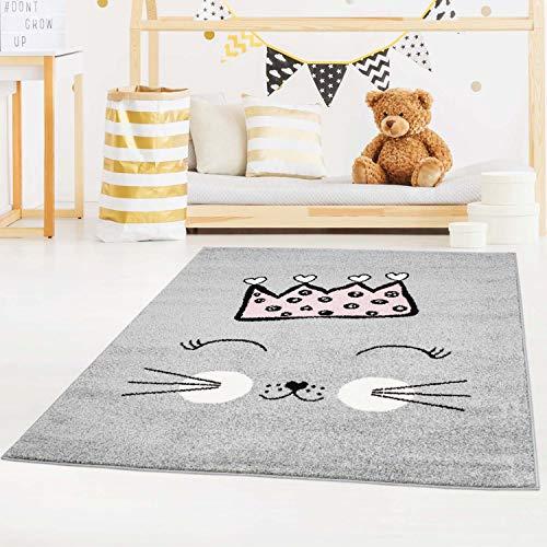 carpet city Kinderteppich Bubble Kids Flachflor mit Katze und Krone in Rosa für Kinderzimmer; Größe: 160x225 cm