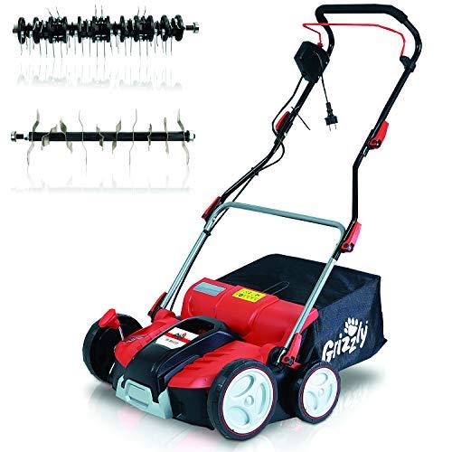 Grizzly Elektro Power Vertikutierer ERV 1801, 1800 W Turbo Power Motor, 37 cm Arbeitsbreite, Elektrischer Rasenlüfter