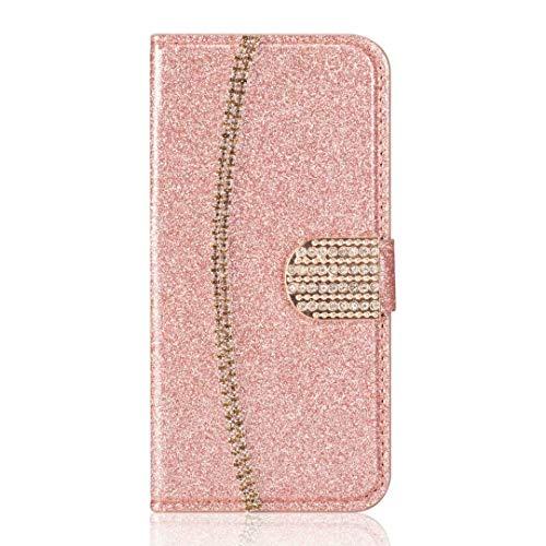Samsung Galaxy Note 10 Plus Telefoonhoesje, 3D Handgemaakte Glitter Gems Ketting Bling Portemonnee Flip Meisje Vrouwen Hoesje Schokbestendig PU Lederen Stand Magnetische Folio Siliconen Bumper Gel Beschermende Telefoonhoes