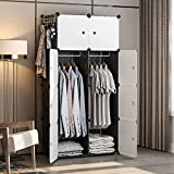 GEORGE&DANIS Portable Closet Wardrobe Dresser Armoire Storage Cube Organizer Plastic Dresser, Pink, 14 inches Depth, 5x5 Tiers