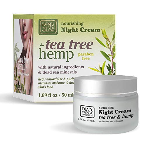 Dead Sea Collection Nourishing Night Cream with Tea Tree & Hemp helping to anti-oxidize and purify your skin. 1.69 fl.oz